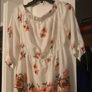 Flowered off the shoulder tunic